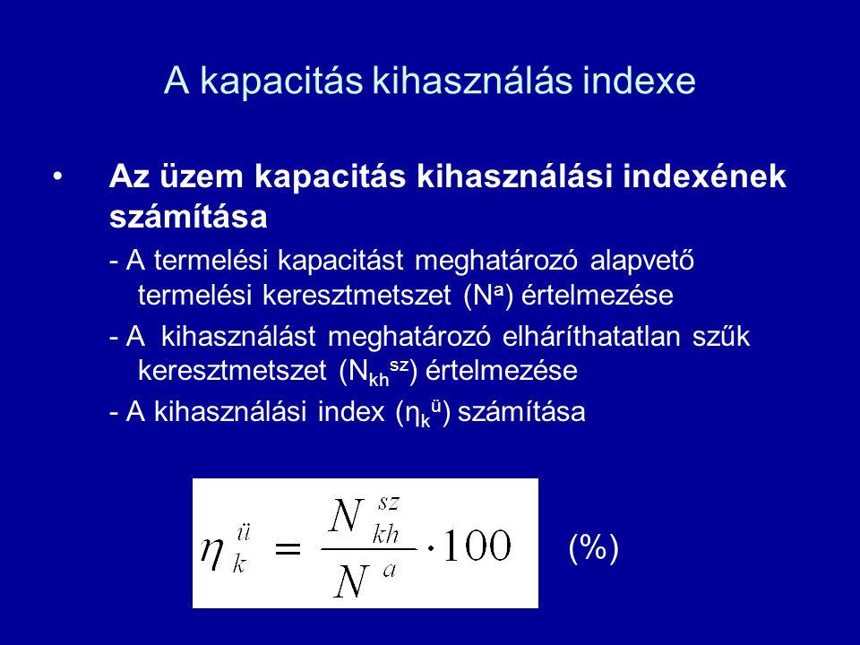 A kapacitás kihasználás indexe Az üzem kapacitás kihasználási indexének számítása - A termelési kapacitást meghatározó alapvető termelési keresztmetsz