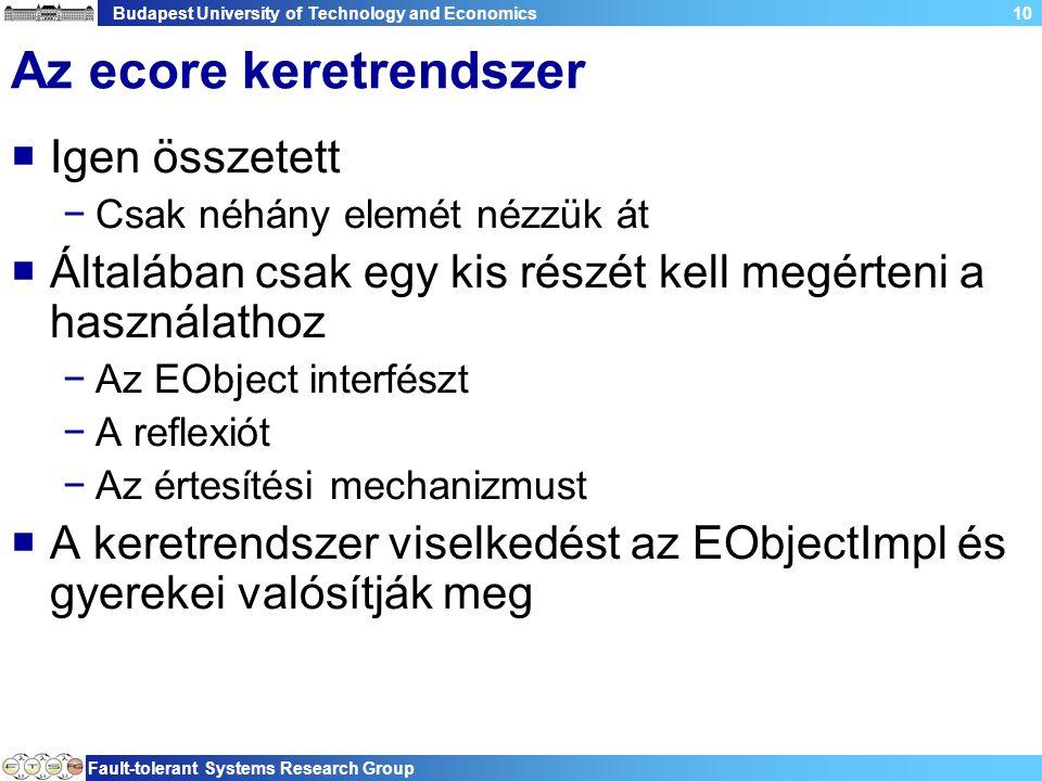 Budapest University of Technology and Economics Fault-tolerant Systems Research Group 10 Az ecore keretrendszer  Igen összetett −Csak néhány elemét nézzük át  Általában csak egy kis részét kell megérteni a használathoz −Az EObject interfészt −A reflexiót −Az értesítési mechanizmust  A keretrendszer viselkedést az EObjectImpl és gyerekei valósítják meg