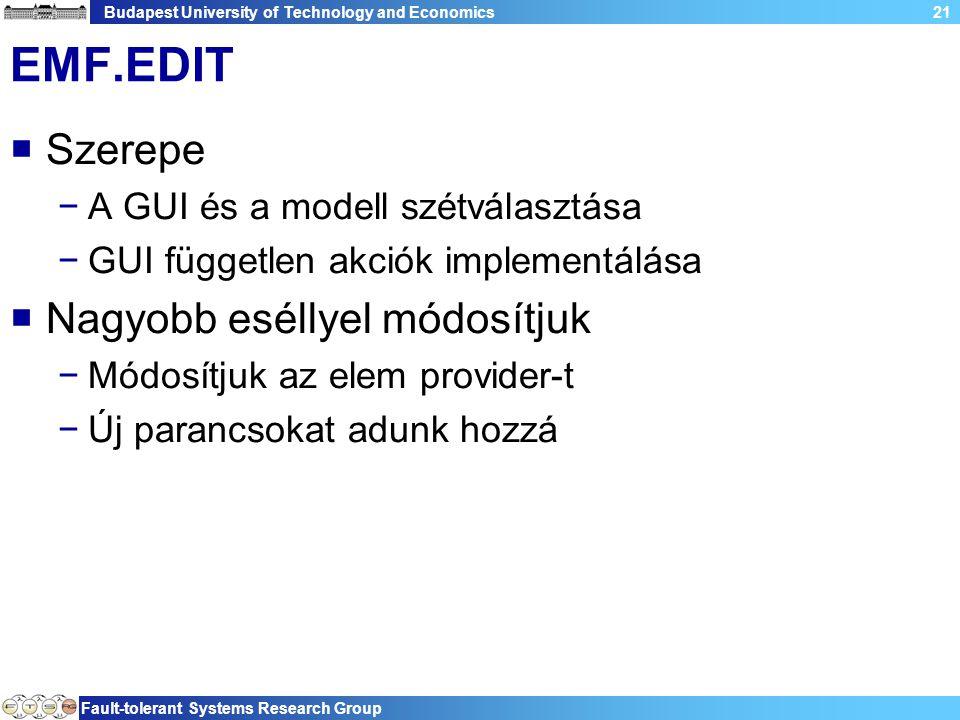 Budapest University of Technology and Economics Fault-tolerant Systems Research Group 21 EMF.EDIT  Szerepe −A GUI és a modell szétválasztása −GUI független akciók implementálása  Nagyobb eséllyel módosítjuk −Módosítjuk az elem provider-t −Új parancsokat adunk hozzá