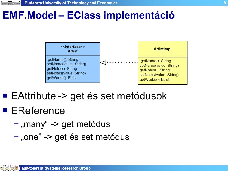 "Budapest University of Technology and Economics Fault-tolerant Systems Research Group 8 EMF.Model – EClass implementáció  EAttribute -> get és set metódusok  EReference −""many -> get metódus −""one -> get és set metódus"