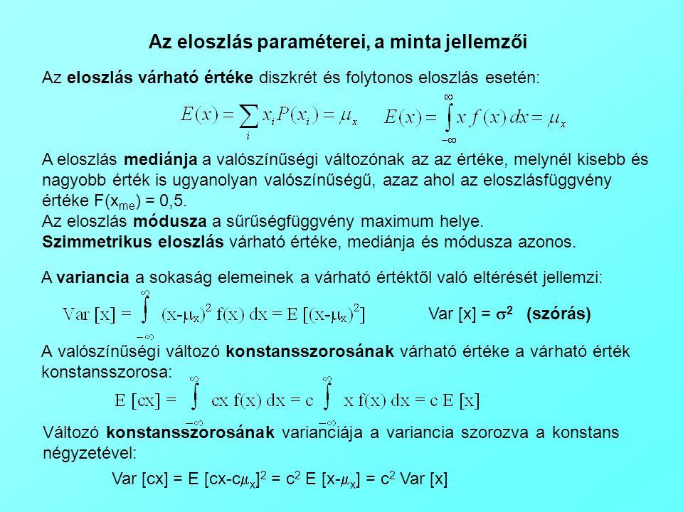 Az eloszlás paraméterei, a minta jellemzői Az eloszlás várható értéke diszkrét és folytonos eloszlás esetén: A eloszlás mediánja a valószínűségi változónak az az értéke, melynél kisebb és nagyobb érték is ugyanolyan valószínűségű, azaz ahol az eloszlásfüggvény értéke F(x me ) = 0,5.