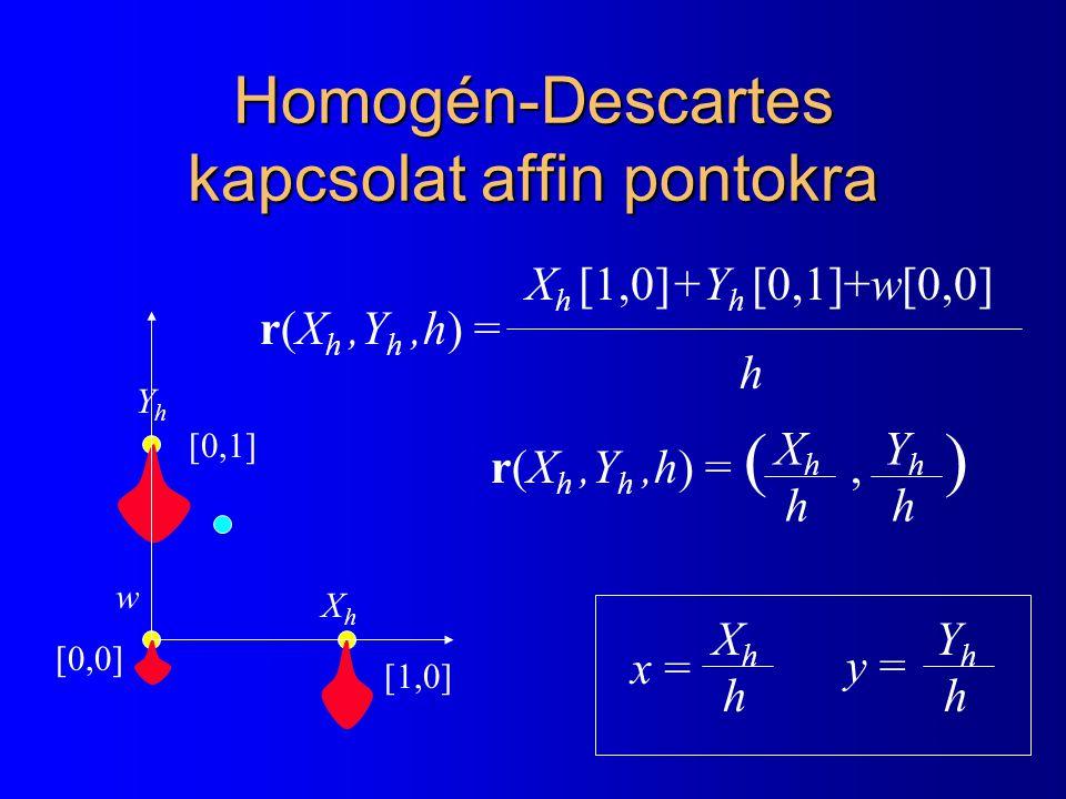 Homogén-Descartes kapcsolat affin pontokra XhXh YhYh w [0,0] [1,0] [0,1] r(X h,Y h,h) = X h [1,0]+Y h [0,1]+w[0,0] h r(X h,Y h,h) = (, ) XhhXhh YhhYhh x = XhhXhh YhhYhh y =