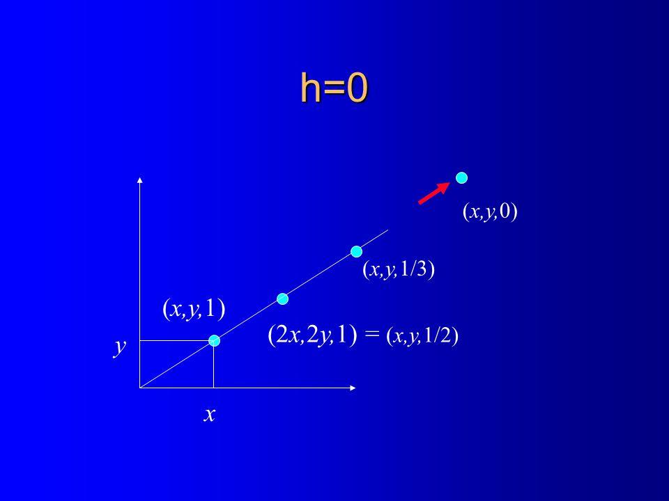 h=0 x y (x,y,1) (2x,2y,1) = (x,y,1/2) (x,y,1/3) (x,y,0)