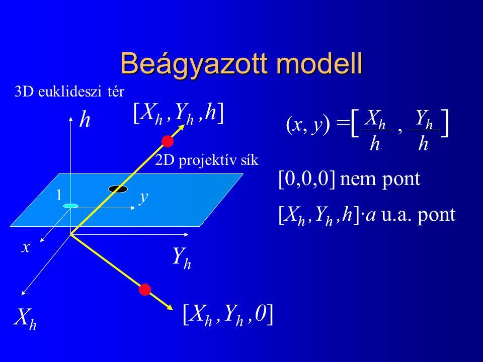 Beágyazott modell [X h,Y h,h] XhXh YhYh h x y 1 [X h,Y h,0] [, ] XhhXhh YhhYhh (x, y ) = [0,0,0] nem pont [X h,Y h,h]·a u.a. pont 3D euklideszi tér 2D