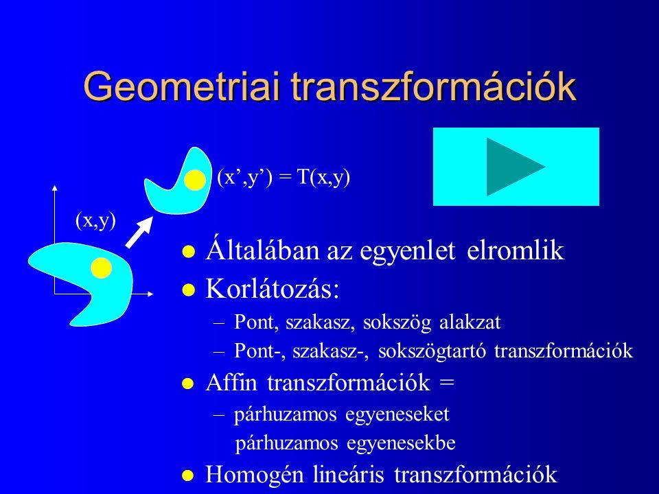 A projektív tér egyenesei és síkjai l Egyenes: l Sík: [X(t),Y(t),Z(t),h(t)]=[X 1,Y 1,Z 1,h 1 ]·t + [X 2,Y 2,Z 2,h 2 ]·(1-t) Euklideszi, Descartes koord: n x x + n y y + n z z + d = 0 Euklideszi, homogén koord: n x X h /h + n y Y h /h + n z Z h /h +d = 0 Projektív: n x · X h + n y ·Y h + n z · Z h +d · h = 0 [X h,Y h,Z h,h]· = 0 nxnynzdnxnynzd