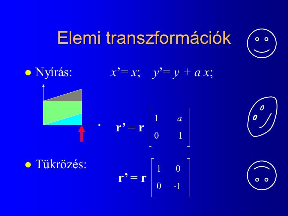 Transzformáció fix pontja: pivot point: (xp, yp) Skálázás: x'= S x (x-xp) + xp; y'= S y (y-yp) + yp; Forgatás: x'= (x-xp)*cos  - (y-yp)* sin  + xp; y'= (x-xp)*sin  + (y-yp)* cos  + yp;