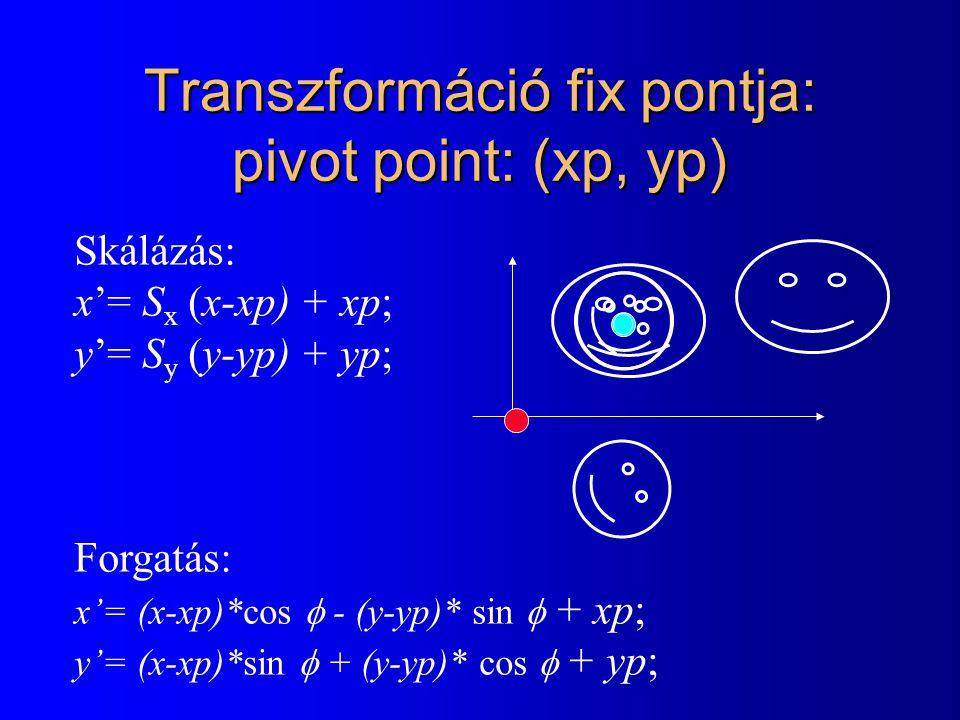 Összetett transzformáció l Affin transzformáció: r' = r A + p –A: lineáris transzformáció l forgatás, skálázás, tükrözés, nyírás, stb.