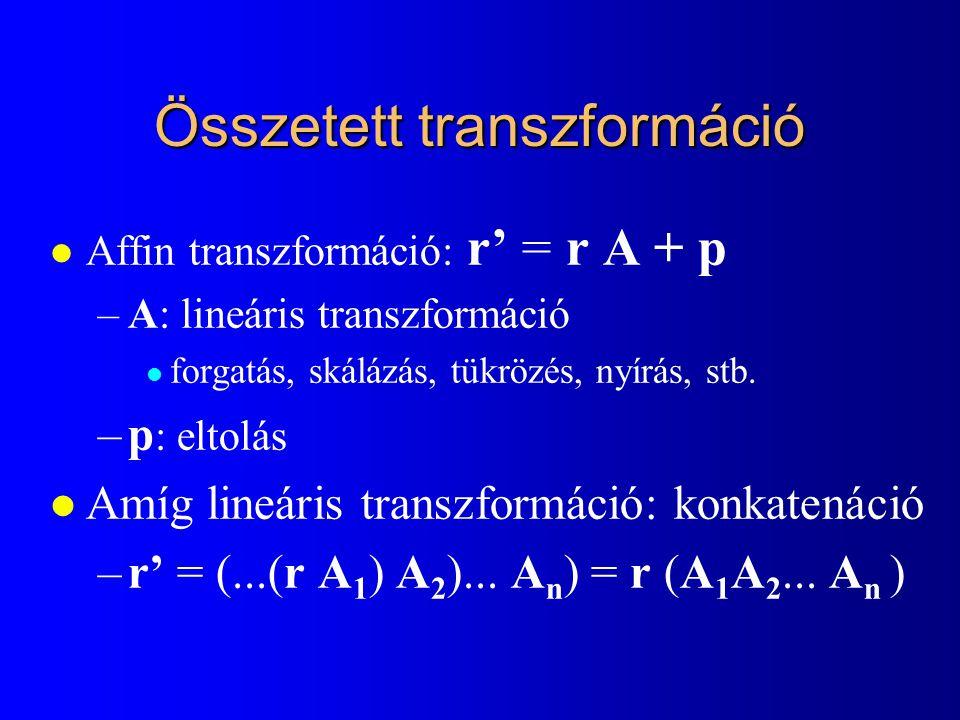 Projektív egyenes paraméteres egyenlete [X 1,Y 1,h 1 ] XhXh YhYh h [X 2,Y 2,h 2 ] [X(t),Y(t),h(t)]=[X 1,Y 1,h 1 ] · t + [X 2,Y 2,h 2 ] · (1-t) Szakasz: Konvex kombináció!