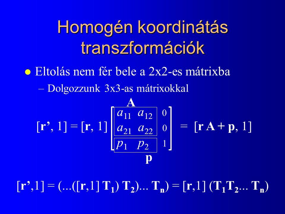 Homogén lineáris transzformációk l Euklideszi sík affin transzformációi: [x', y'] = [x, y] A + p l Homogén koordináták lineáris függvényei: [X h ',Y h ',h'] = [X h,Y h,h] T + p l Homogén lineáris transzformációk bővebbek : a 11 a 12 0 a 21 a 22 0 p 1 p 2 1 T =