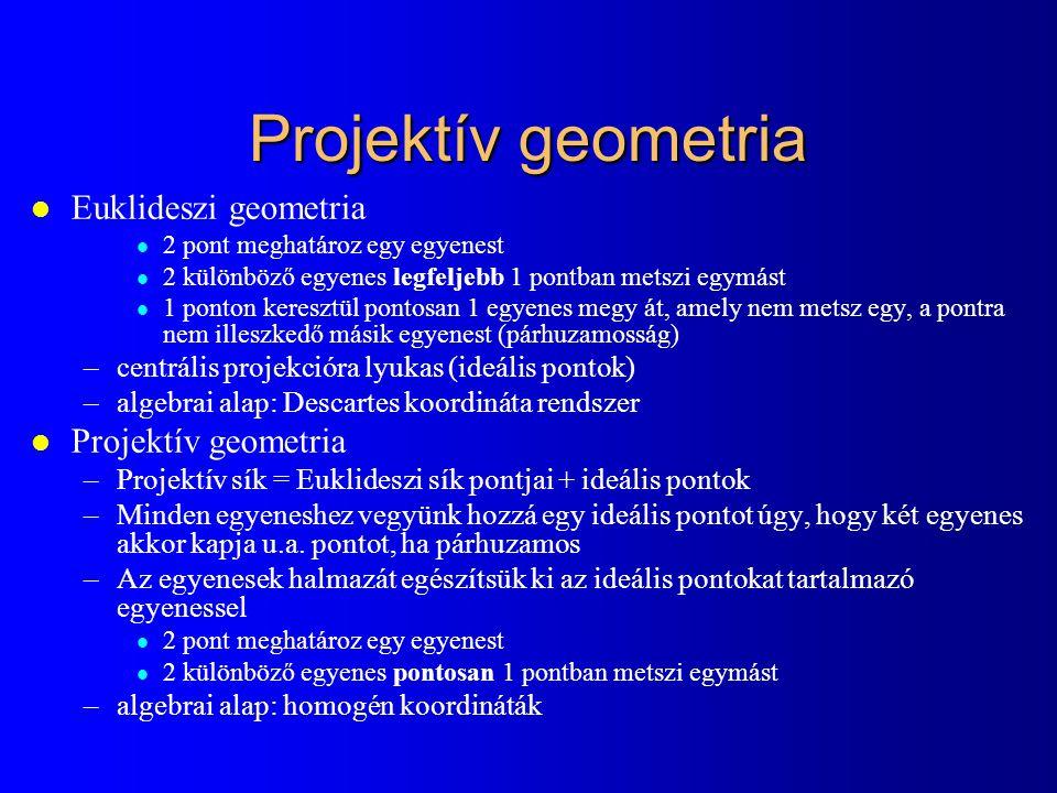 Projektív geometria l Euklideszi geometria l 2 pont meghatároz egy egyenest l 2 különböző egyenes legfeljebb 1 pontban metszi egymást l 1 ponton keresztül pontosan 1 egyenes megy át, amely nem metsz egy, a pontra nem illeszkedő másik egyenest (párhuzamosság) –centrális projekcióra lyukas (ideális pontok) –algebrai alap: Descartes koordináta rendszer l Projektív geometria –Projektív sík = Euklideszi sík pontjai + ideális pontok –Minden egyeneshez vegyünk hozzá egy ideális pontot úgy, hogy két egyenes akkor kapja u.a.