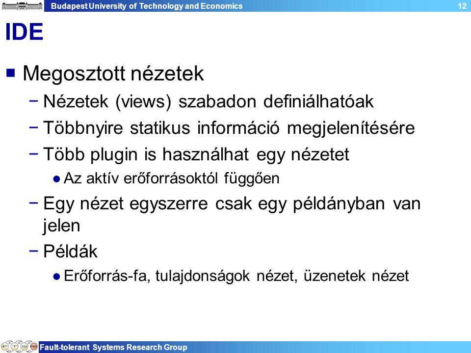 Budapest University of Technology and Economics Fault-tolerant Systems Research Group 12 IDE  Megosztott nézetek −Nézetek (views) szabadon definiálha