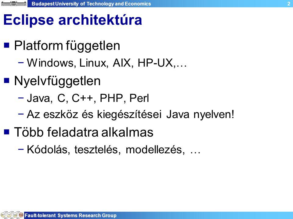 Budapest University of Technology and Economics Fault-tolerant Systems Research Group 2 Eclipse architektúra  Platform független −Windows, Linux, AIX, HP-UX,…  Nyelvfüggetlen −Java, C, C++, PHP, Perl −Az eszköz és kiegészítései Java nyelven.