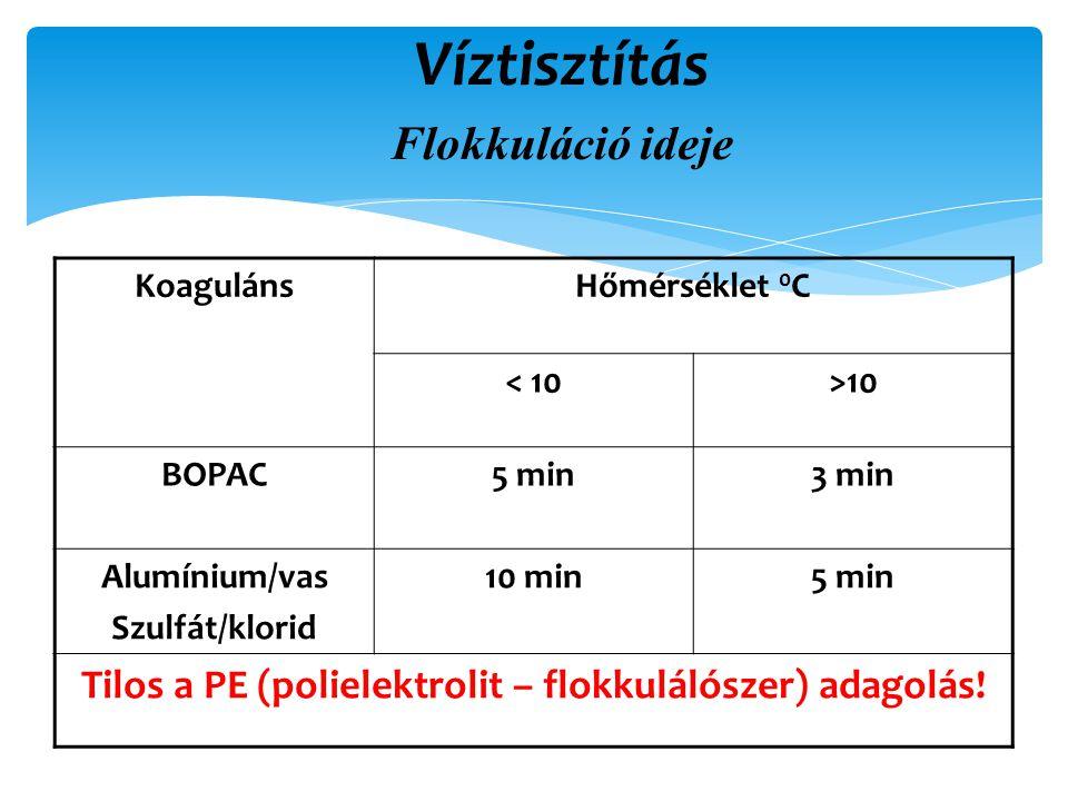Víztisztítás Flokkuláció ideje KoagulánsHőmérséklet 0 C < 10>10 BOPAC5 min3 min Alumínium/vas Szulfát/klorid 10 min5 min Tilos a PE (polielektrolit – flokkulálószer) adagolás!