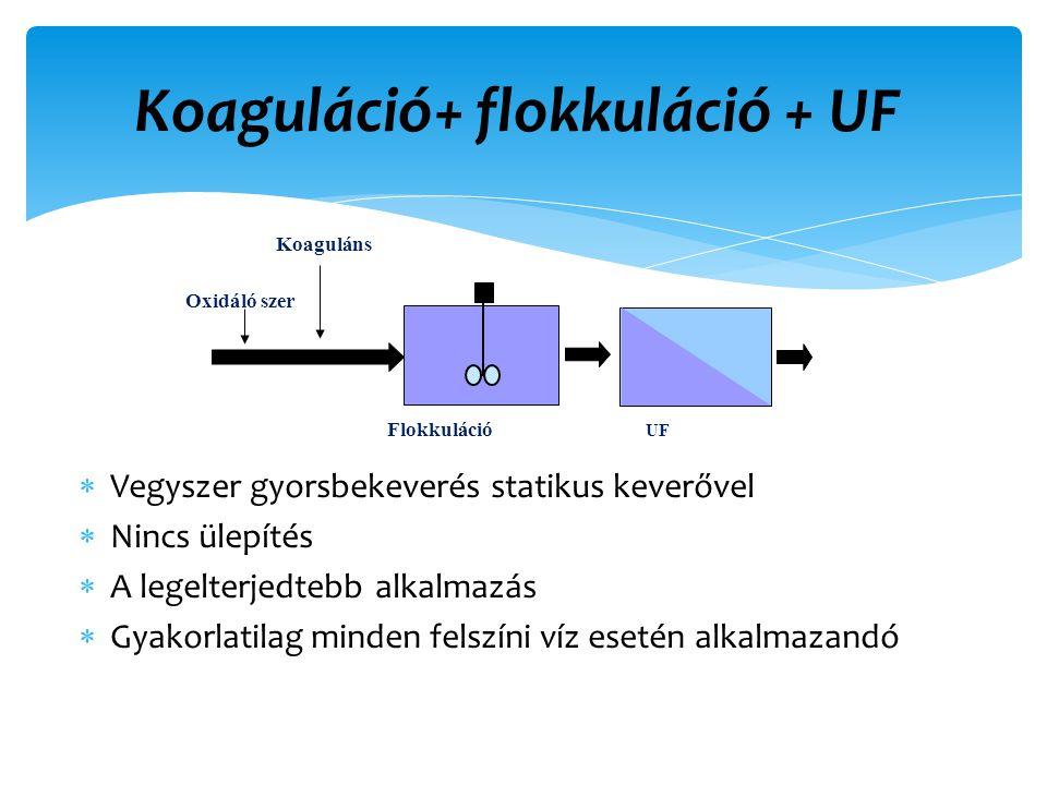 Koaguláció+ flokkuláció + UF Koaguláns UF Flokkuláció  Vegyszer gyorsbekeverés statikus keverővel  Nincs ülepítés  A legelterjedtebb alkalmazás  Gyakorlatilag minden felszíni víz esetén alkalmazandó Oxidáló szer