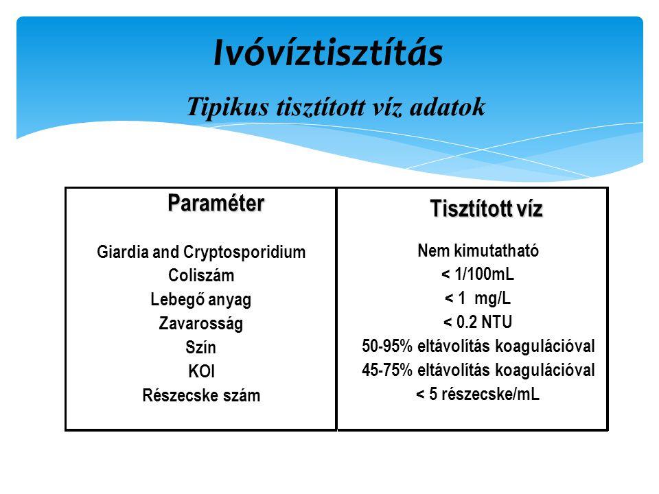 Ivóvíztisztítás Tipikus tisztított víz adatokParaméter Tisztított víz Giardia and Cryptosporidium Coliszám Lebegő anyag Zavarosság Szín KOI Részecske szám Nem kimutatható < 1/100mL < 1 mg/L < 0.2 NTU 50-95% eltávolítás koagulációval 45-75% eltávolítás koagulációval < 5 részecske/mL