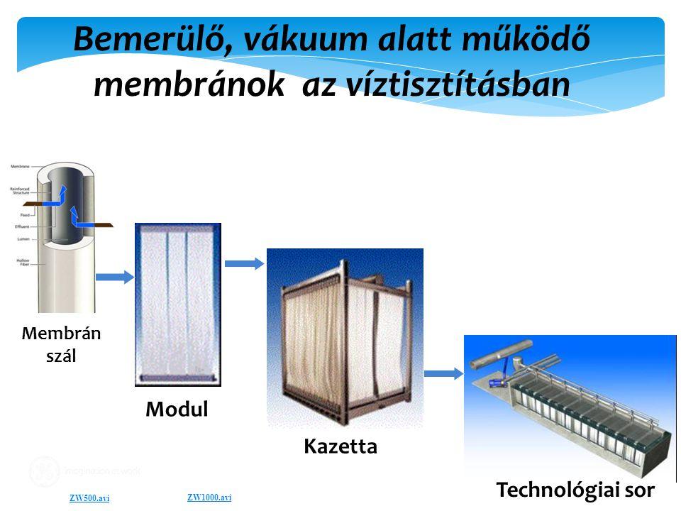 Bemerülő, vákuum alatt működő membránok az víztisztításban Membrane Modules Membrane Train Modul Kazetta Technológiai sor ZW500.avi Membrán szál ZW1000.avi