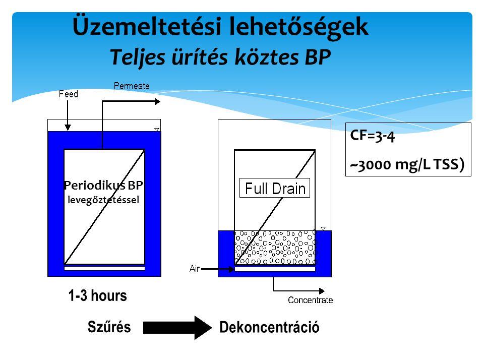Üzemeltetési lehetőségek Teljes ürítés köztes BP CF=3-4 ~3000 mg/L TSS) Szűrés Dekoncentráció Periodikus BP levegőztetéssel 1-3 hours