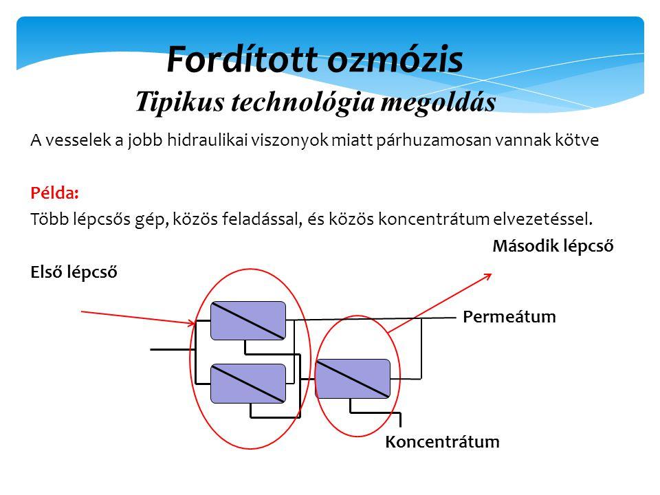 Fordított ozmózis Tipikus technológia megoldás A vesselek a jobb hidraulikai viszonyok miatt párhuzamosan vannak kötve Példa: Több lépcsős gép, közös feladással, és közös koncentrátum elvezetéssel.