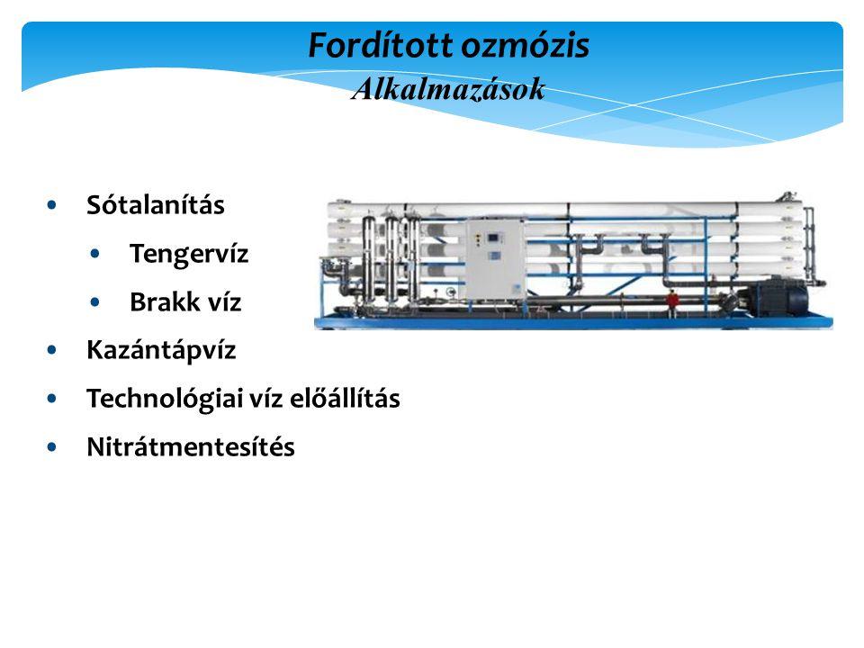Fordított ozmózis Alkalmazások Sótalanítás Tengervíz Brakk víz Kazántápvíz Technológiai víz előállítás Nitrátmentesítés