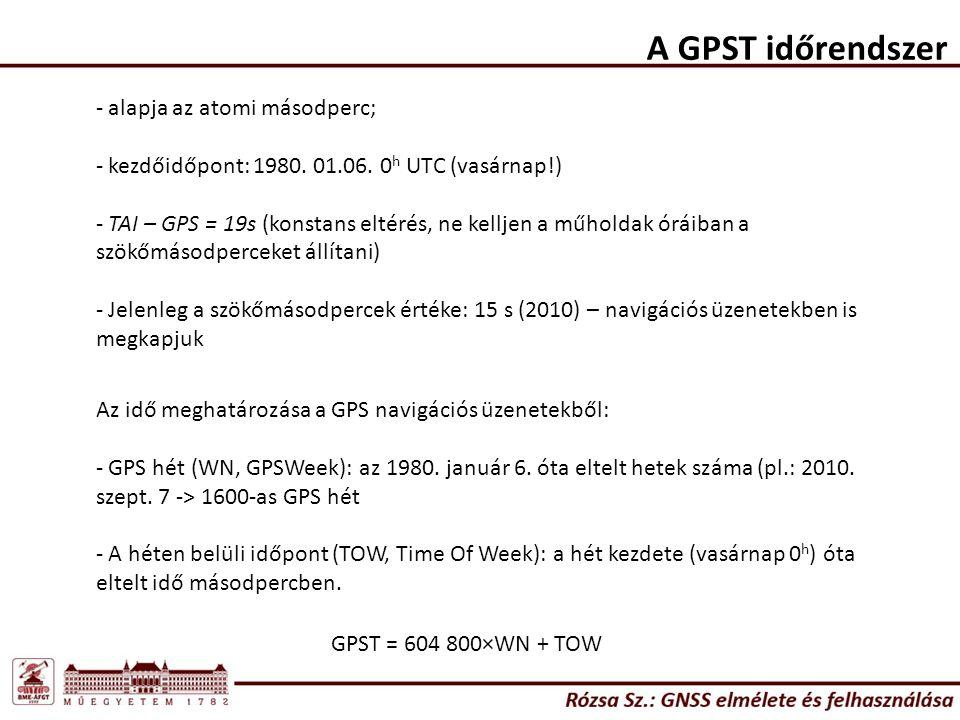 A GPST időrendszer - alapja az atomi másodperc; - kezdőidőpont: 1980. 01.06. 0 h UTC (vasárnap!) - TAI – GPS = 19s (konstans eltérés, ne kelljen a műh