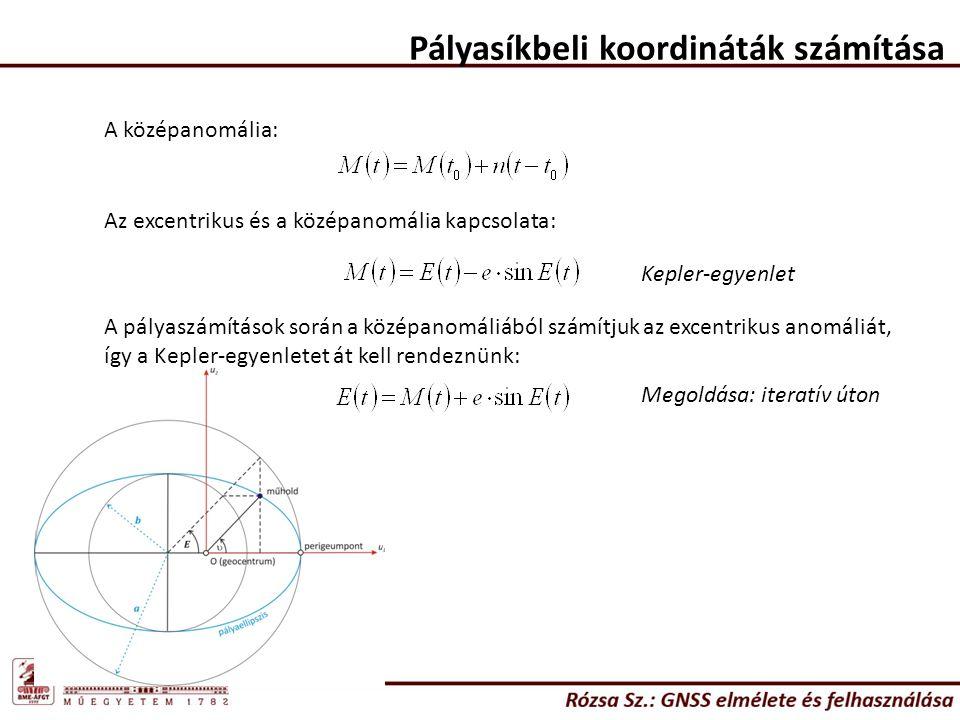 Pályasíkbeli koordináták számítása A középanomália: Az excentrikus és a középanomália kapcsolata: Kepler-egyenlet A pályaszámítások során a középanomá