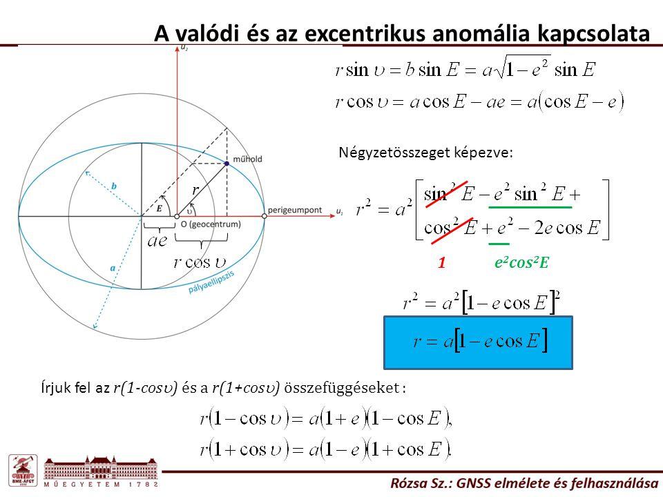 A valódi és az excentrikus anomália kapcsolata r Négyzetösszeget képezve: 1e 2 cos 2 E Írjuk fel az r(1-cos  ) és a r(1+cos  ) összefüggéseket :