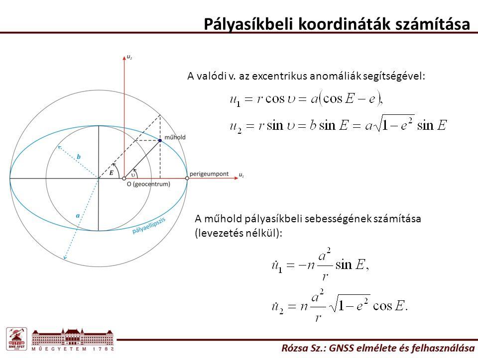 Pályasíkbeli koordináták számítása A valódi v. az excentrikus anomáliák segítségével: A műhold pályasíkbeli sebességének számítása (levezetés nélkül):