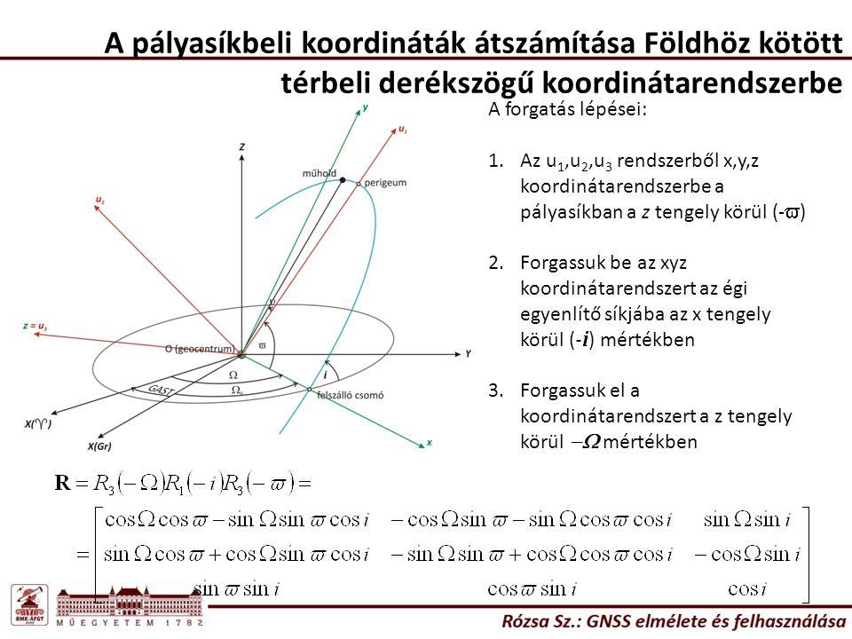 A pályasíkbeli koordináták átszámítása Földhöz kötött térbeli derékszögű koordinátarendszerbe A forgatás lépései: 1.Az u 1,u 2,u 3 rendszerből x,y,z k