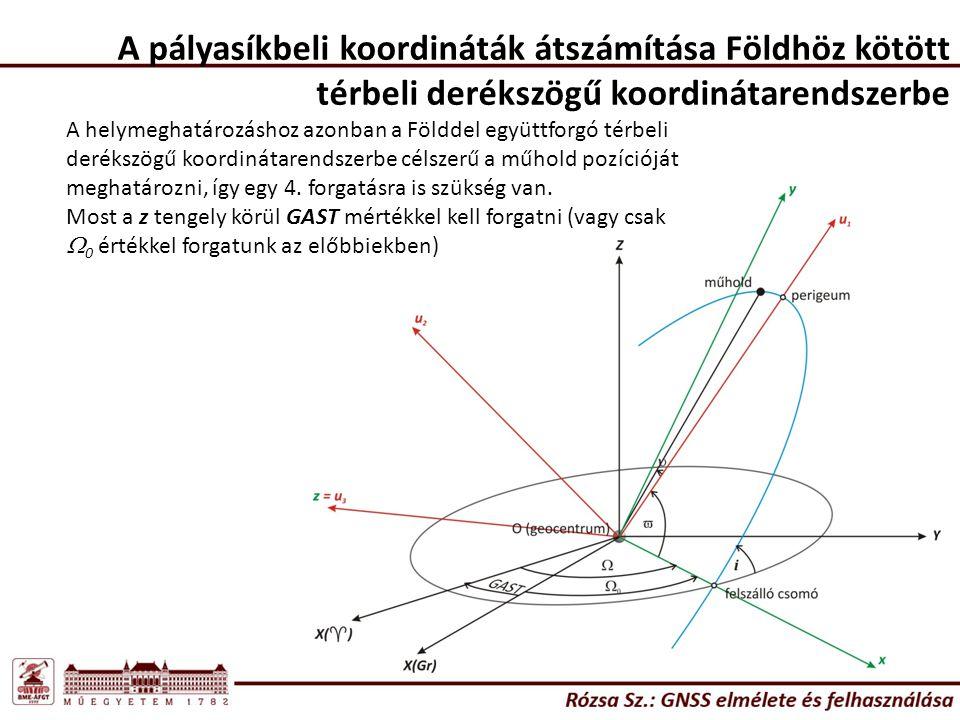 A pályasíkbeli koordináták átszámítása Földhöz kötött térbeli derékszögű koordinátarendszerbe A helymeghatározáshoz azonban a Földdel együttforgó térb