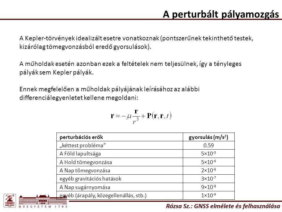 A perturbált pályamozgás A Kepler-törvények idealizált esetre vonatkoznak (pontszerűnek tekinthető testek, kizárólag tömegvonzásból eredő gyorsulások)