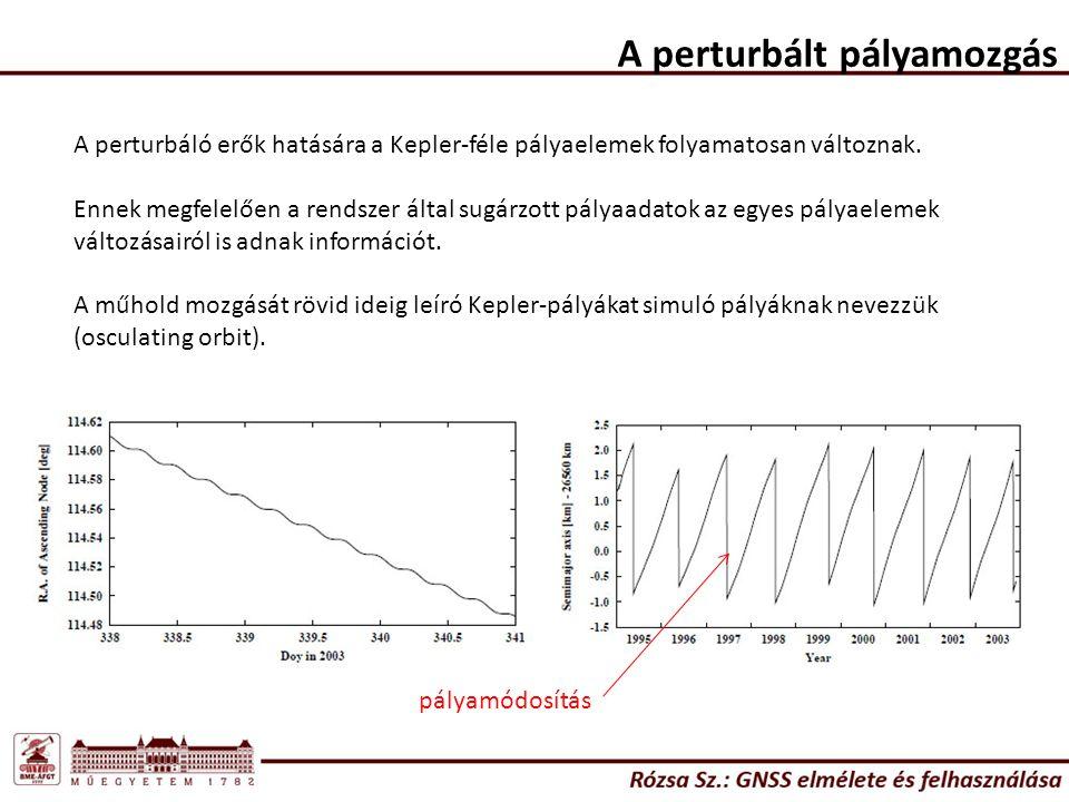 A perturbált pályamozgás A perturbáló erők hatására a Kepler-féle pályaelemek folyamatosan változnak. Ennek megfelelően a rendszer által sugárzott pál
