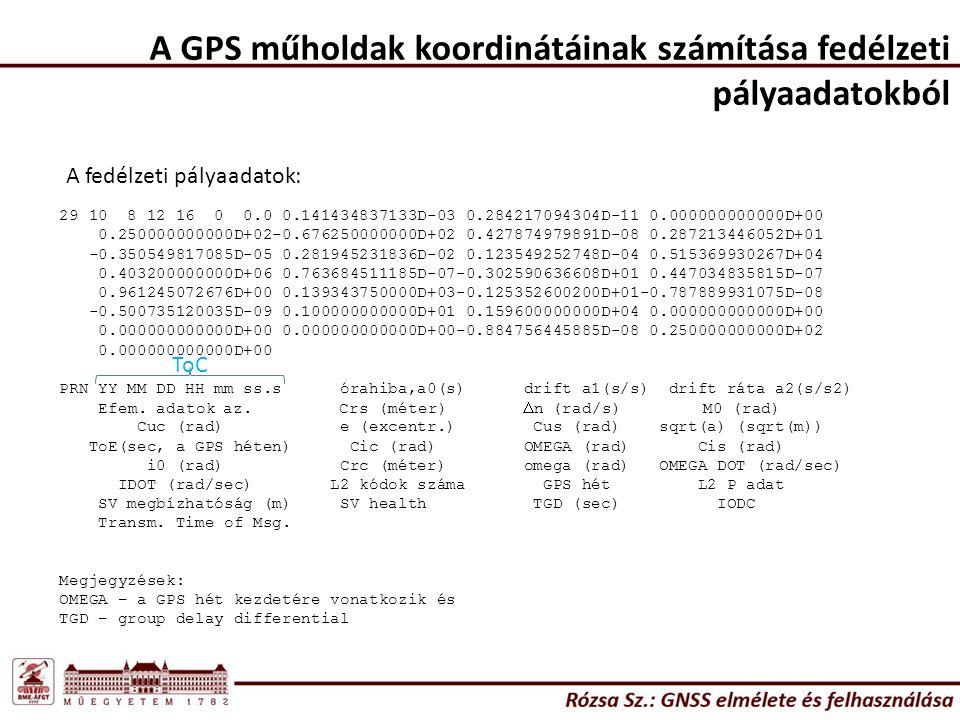 A GPS műholdak koordinátáinak számítása fedélzeti pályaadatokból 29 10 8 12 16 0 0.0 0.141434837133D-03 0.284217094304D-11 0.000000000000D+00 0.250000