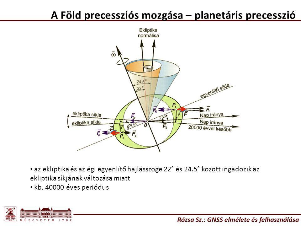 A Föld precessziós mozgása – planetáris precesszió az ekliptika és az égi egyenlítő hajlásszöge 22° és 24.5° között ingadozik az ekliptika síkjának vá