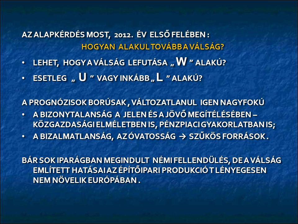 AZ ALAPKÉRDÉS MOST, 2012. ÉV ELSŐ FELÉBEN : HOGYAN ALAKUL TOVÁBB A VÁLSÁG.