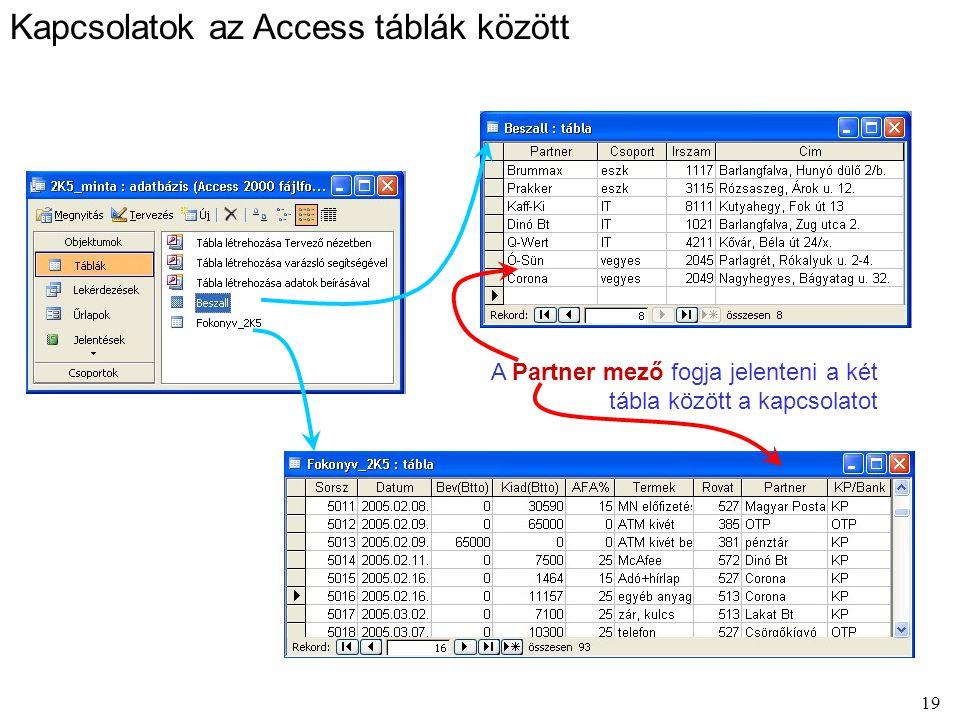 19 Kapcsolatok az Access táblák között A Partner mező fogja jelenteni a két tábla között a kapcsolatot