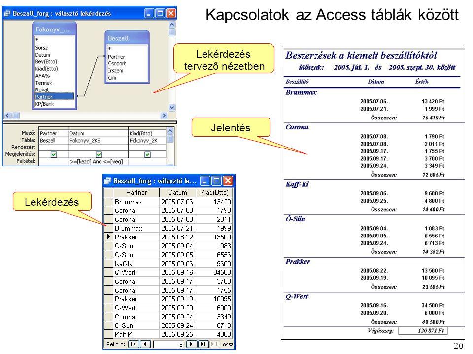 20 Kapcsolatok az Access táblák között Jelentés Lekérdezés tervező nézetben Lekérdezés