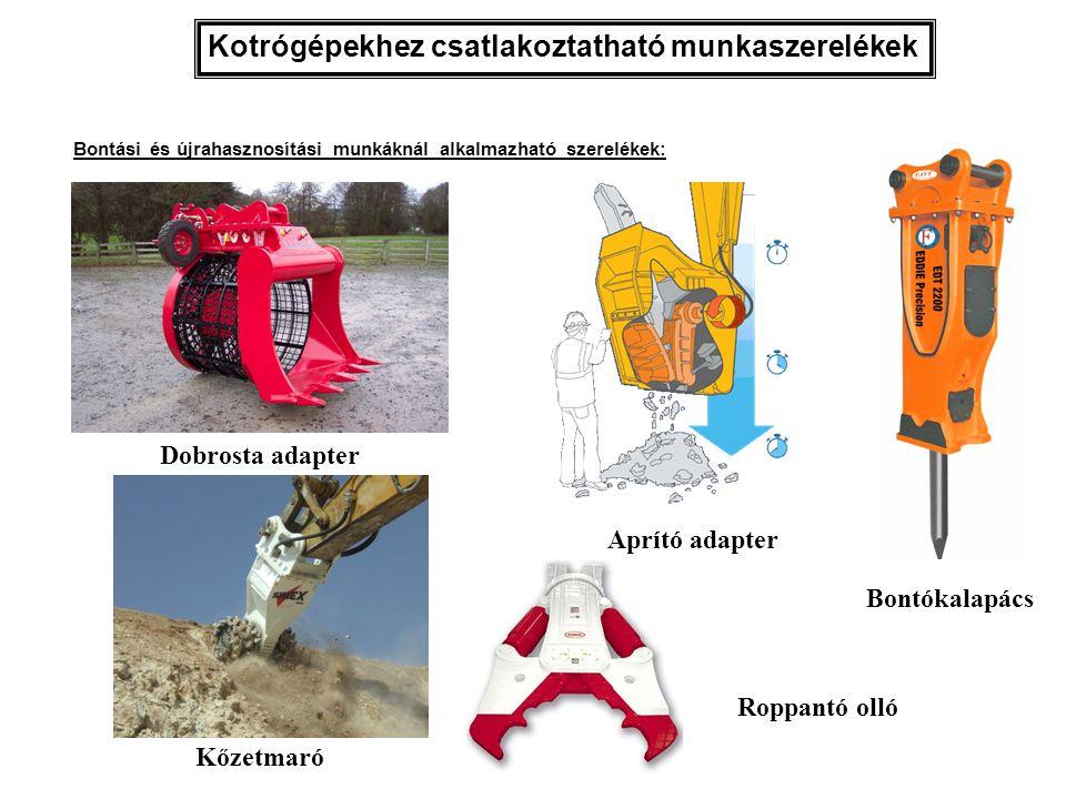 Kotrógépekhez csatlakoztatható munkaszerelékek Dobrosta adapter Kőzetmaró Bontókalapács Aprító adapter Bontási és újrahasznosítási munkáknál alkalmazh