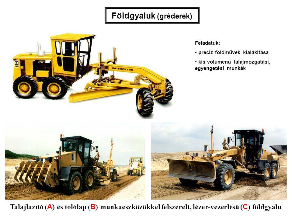Talajlazító ( A ) és tolólap ( B ) munkaeszközökkel felszerelt, lézer-vezérlésű ( C ) földgyalu Földgyaluk (gréderek) Feladatuk: precíz földművek kial