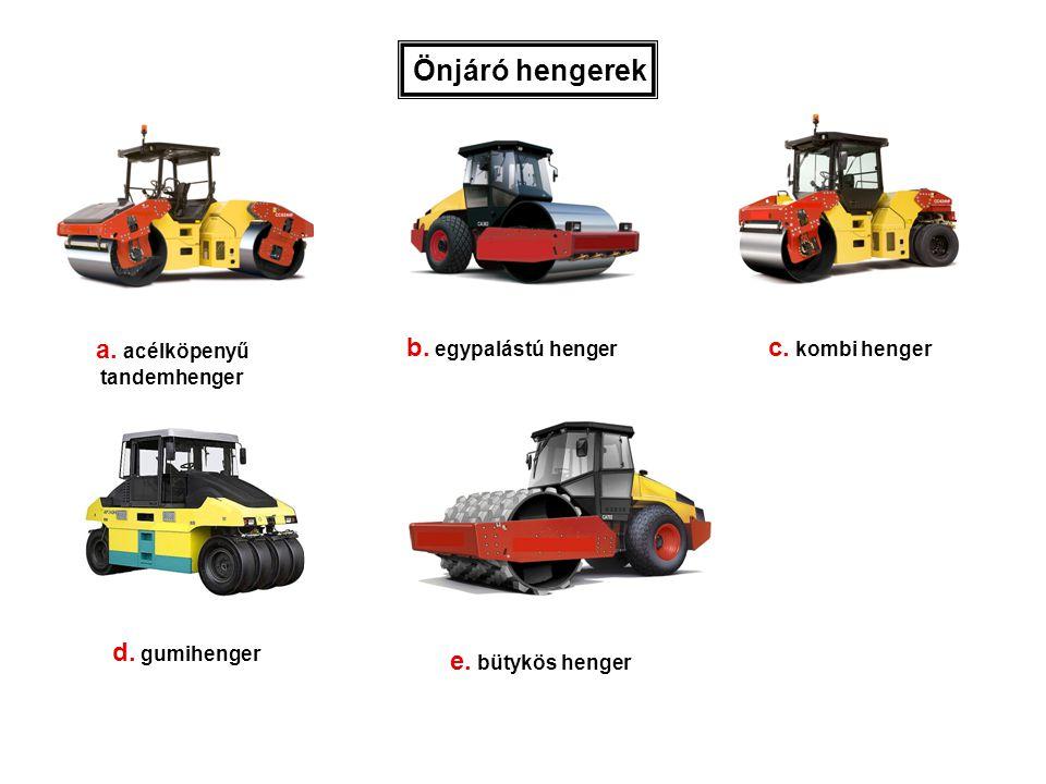 a. acélköpenyű tandemhenger b. egypalástú henger Önjáró hengerek c. kombi henger d. gumihenger e. bütykös henger