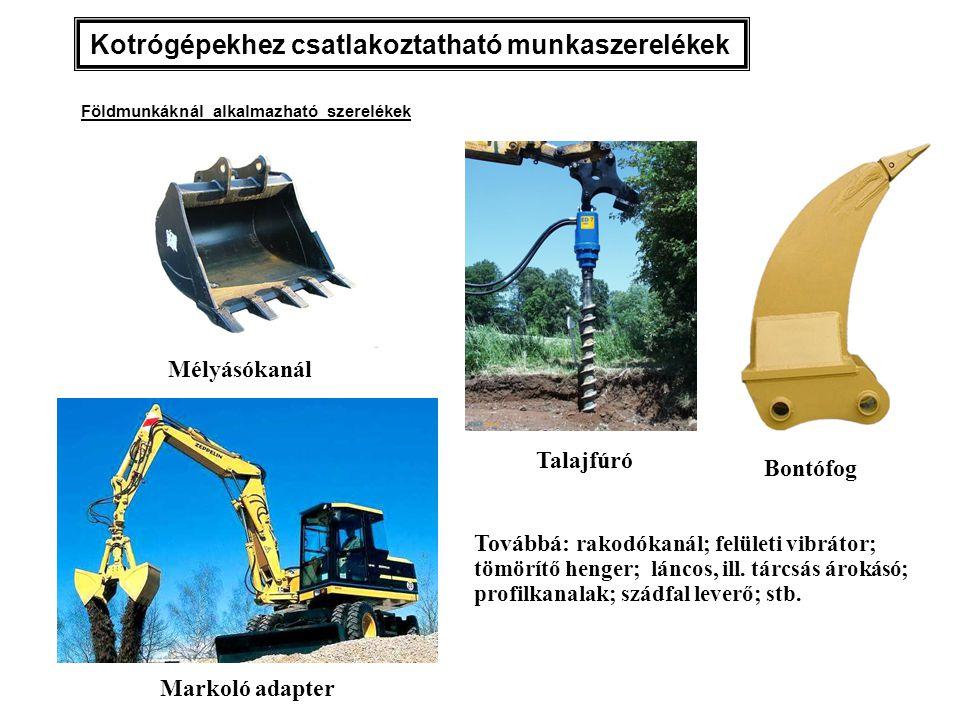 Mélyásókanál Markoló adapter Kotrógépekhez csatlakoztatható munkaszerelékek Továbbá: rakodókanál; felületi vibrátor; tömörítő henger; láncos, ill. tár