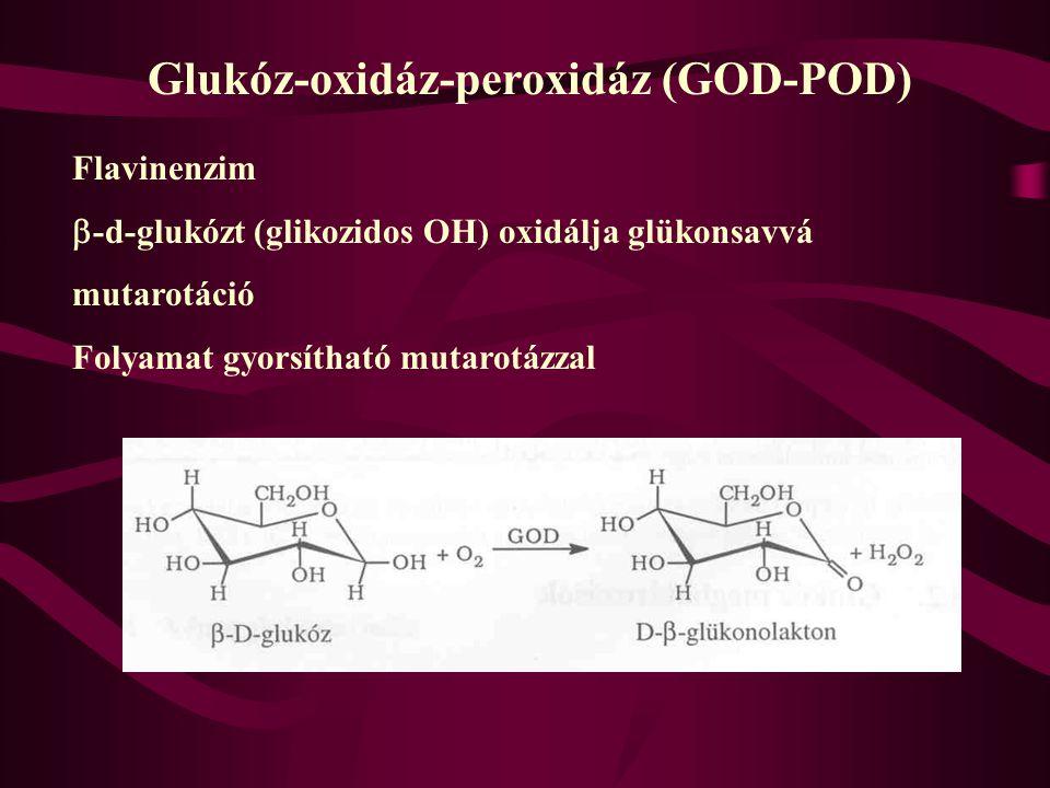 Glukóz meghatározások 1. Hagedorn-Jensen, 1960-as évek 2. O-toluidin, 1970-es évek 3. Enzimes módszerek 1980-1990-es évektől kizárólag használt a. glu