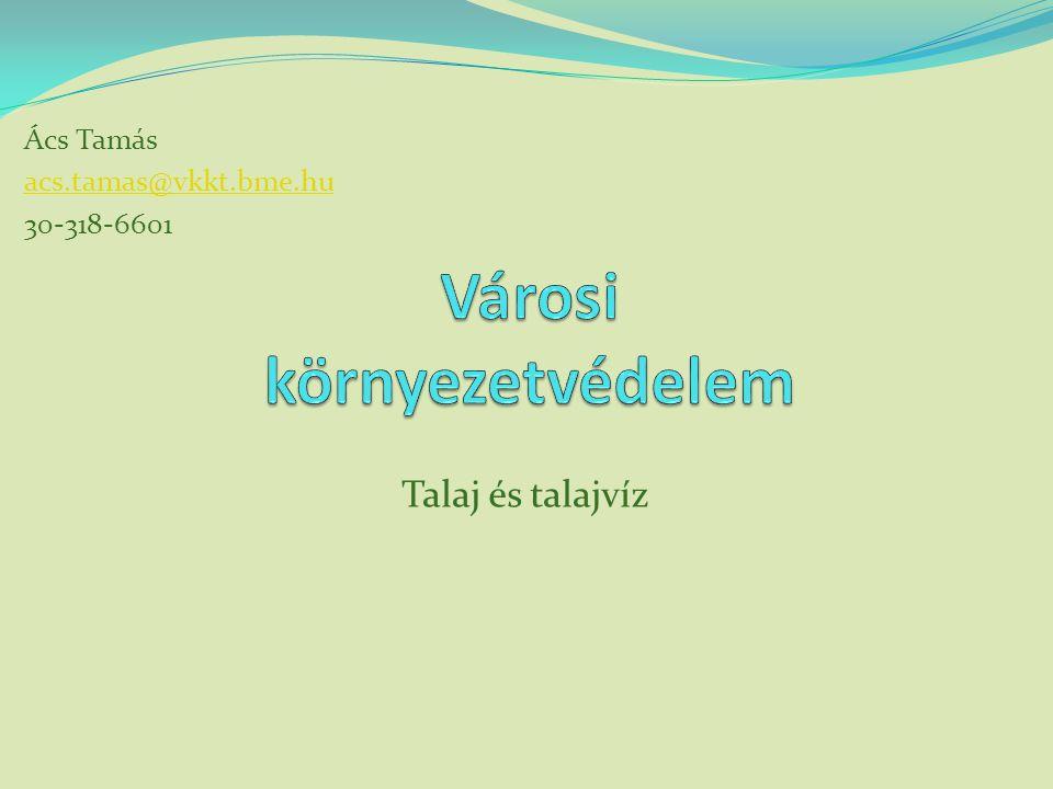 Talaj és talajvíz Ács Tamás acs.tamas@vkkt.bme.hu 30-318-6601