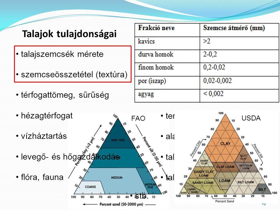 ásványi anyag összetétel szervesanyag-tartalom kémhatás termékenység alapkőzet talajképződés módja talaj kora 19 talajszemcsék mérete szemcseösszetéte