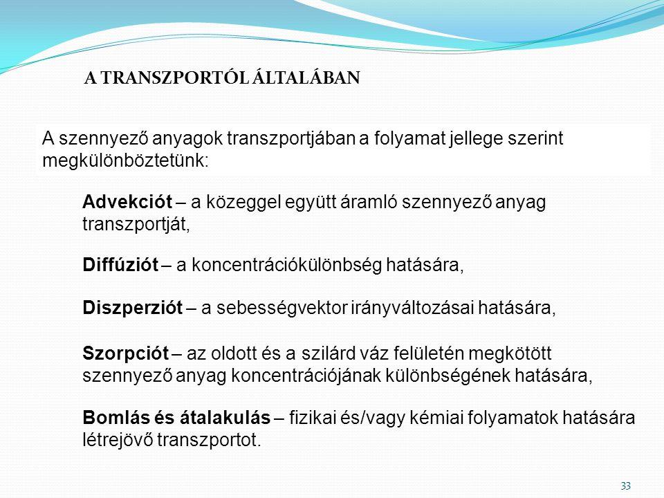 A TRANSZPORTÓL ÁLTALÁBAN A szennyező anyagok transzportjában a folyamat jellege szerint megkülönböztetünk: 33 Advekciót – a közeggel együtt áramló sze
