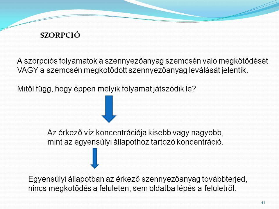 SZORPCIÓ 41 A szorpciós folyamatok a szennyezőanyag szemcsén való megkötődését VAGY a szemcsén megkötődött szennyezőanyag leválását jelentik. Mitől fü