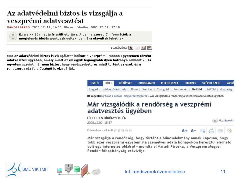 BME VIK TMIT Inf. rendszerek üzemeltetése11