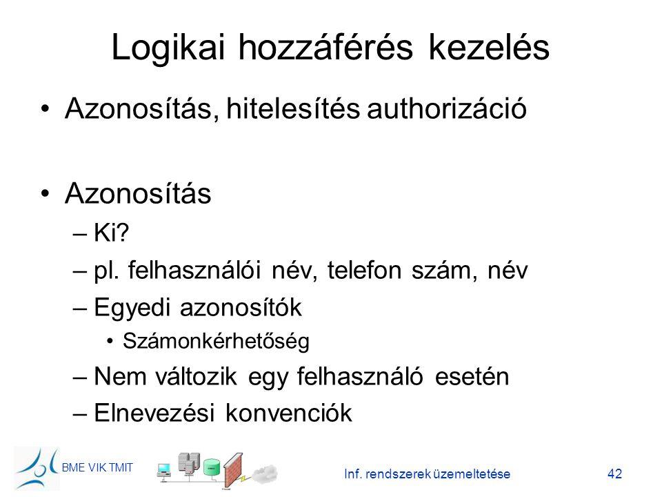 BME VIK TMIT Inf. rendszerek üzemeltetése42 Logikai hozzáférés kezelés Azonosítás, hitelesítés authorizáció Azonosítás –Ki? –pl. felhasználói név, tel