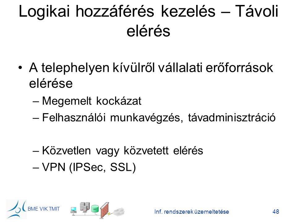 BME VIK TMIT Inf. rendszerek üzemeltetése48 Logikai hozzáférés kezelés – Távoli elérés A telephelyen kívülről vállalati erőforrások elérése –Megemelt