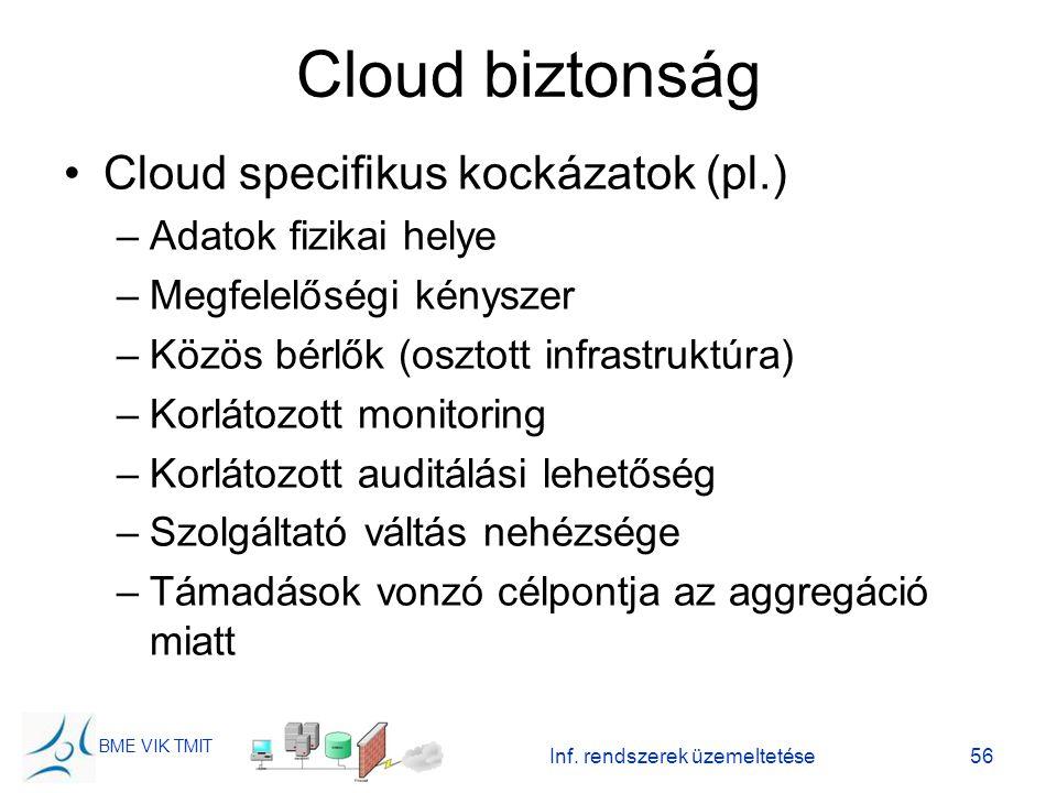 BME VIK TMIT Cloud biztonság Cloud specifikus kockázatok (pl.) –Adatok fizikai helye –Megfelelőségi kényszer –Közös bérlők (osztott infrastruktúra) –K