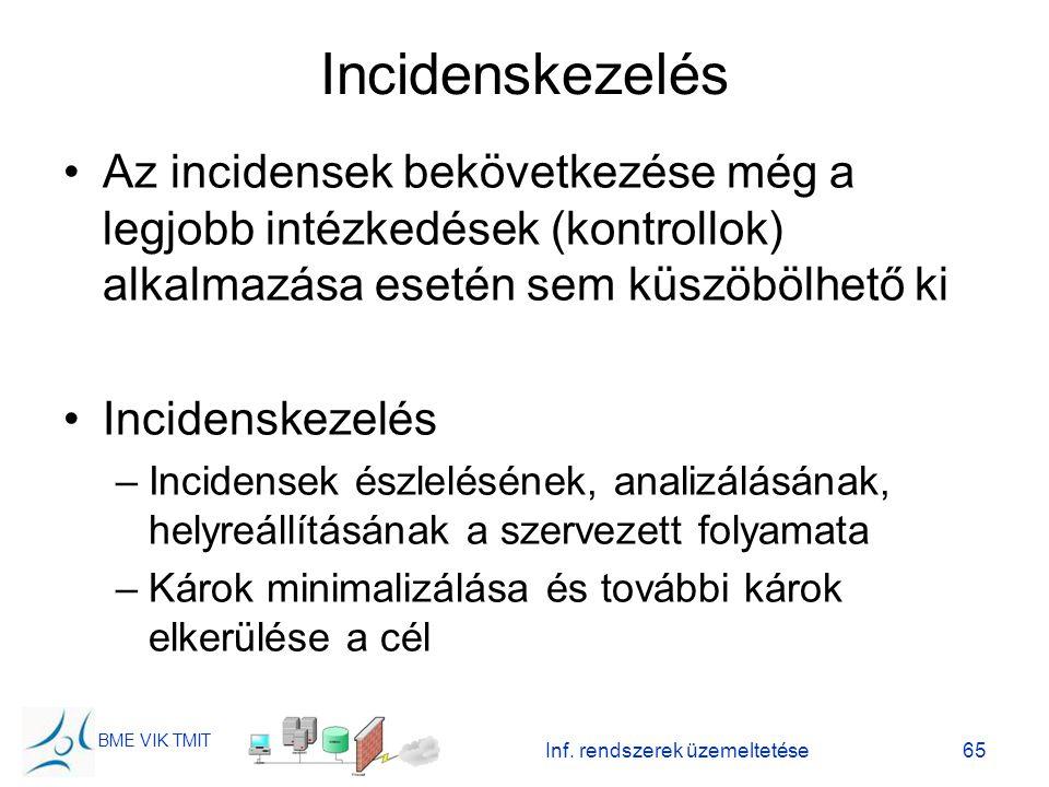 BME VIK TMIT Inf. rendszerek üzemeltetése65 Incidenskezelés Az incidensek bekövetkezése még a legjobb intézkedések (kontrollok) alkalmazása esetén sem